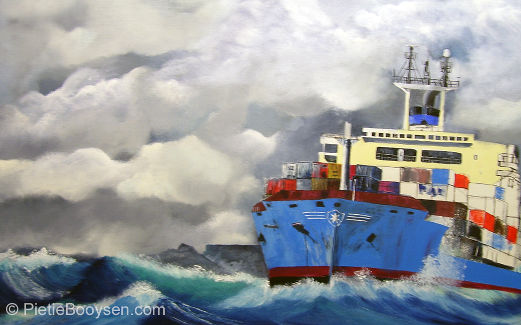 Cargo ship in Table Bay by Pietie Booysen