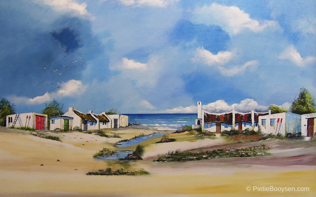 Fishermen's cottages along the beach by Pietie Booysen
