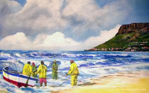 Trekfishing at Fish Hoek by Pietie Booysen